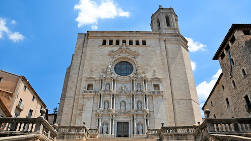 View from the base of the stairs of cathedral in Girona