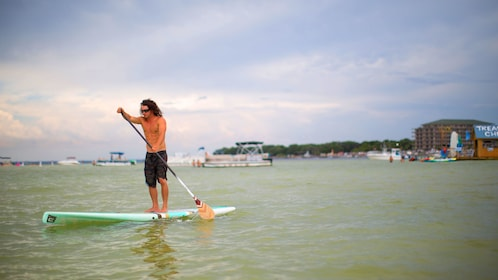 Paddle boarder off the coast of Delaware