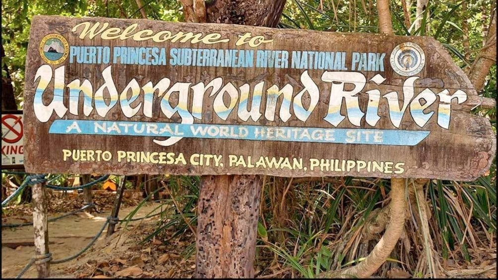 Show item 3 of 4. Underground River sign in the Philippines