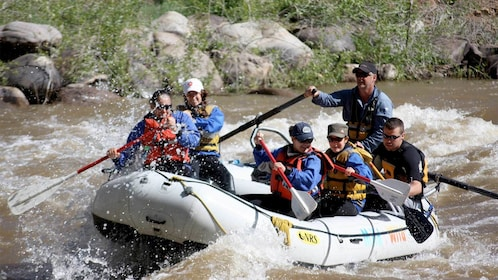 Close view of a Family Rafting in Durango