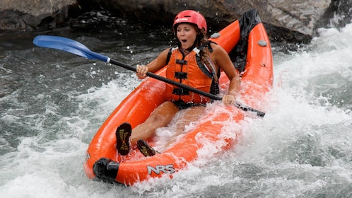 Close up of a woman on a Rafting adventure in Durango