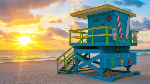 Sunset view of the beach in Miami