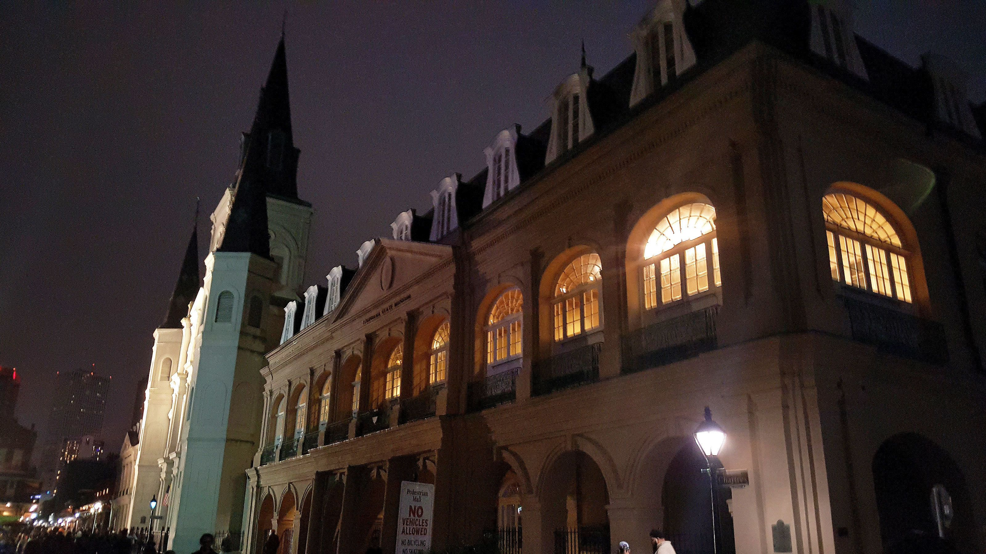 Exterior of building at night in New Orleans