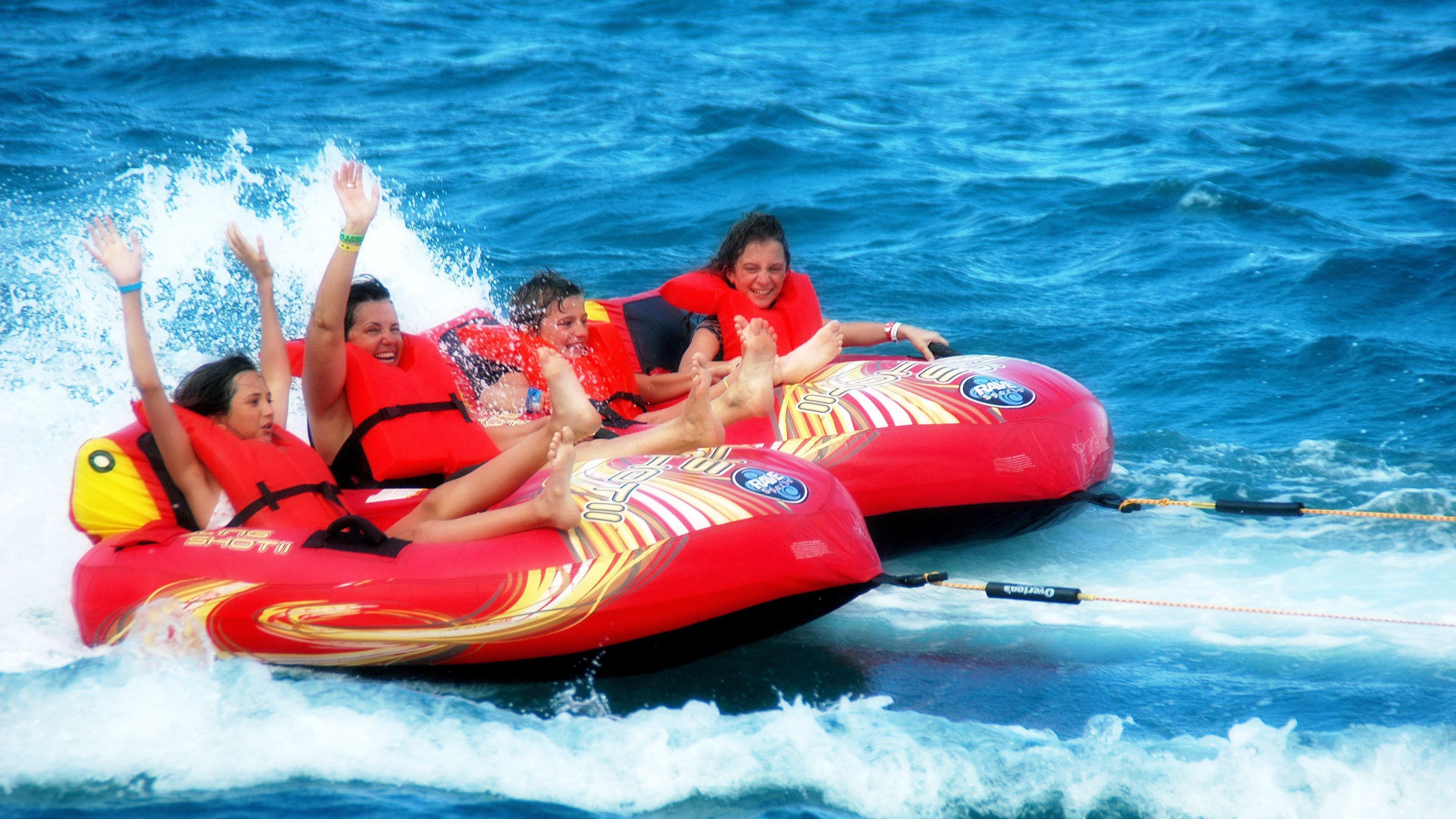 People riding on inflatables in Punta Cana