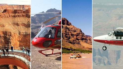 Four split images featuring Grand Canyon and helicopter