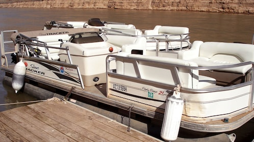 Pontoon boat on Colorado River in the Grand Canyon