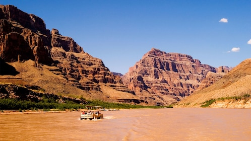 boat in canyon river
