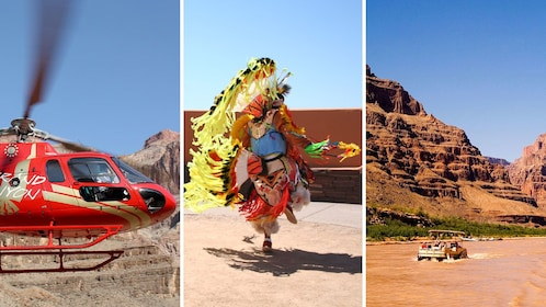 combo image of helicopter native dance and canyon river