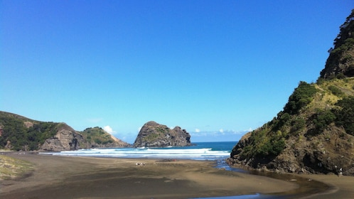 View of sandy beach in New Zealand
