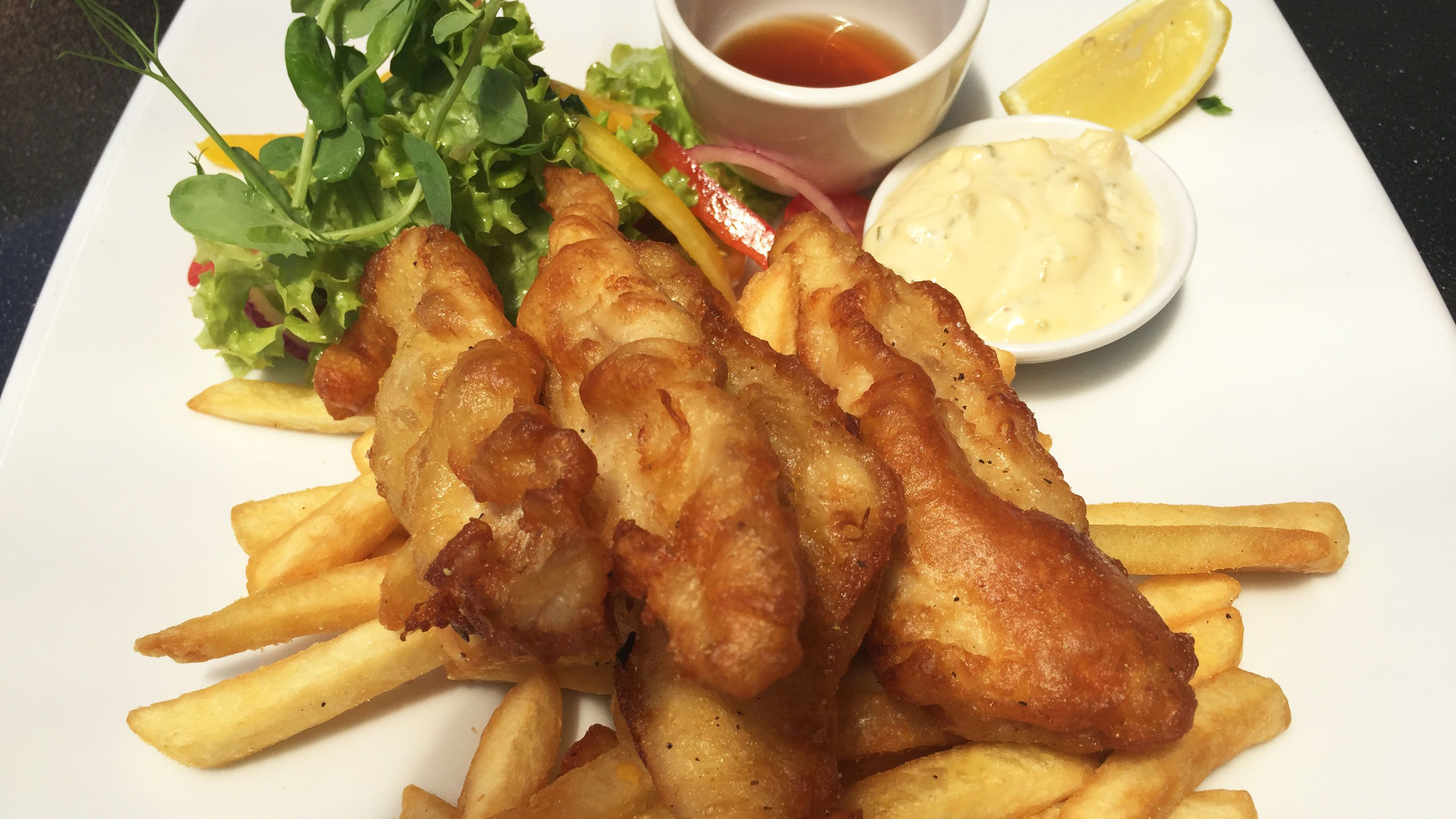 Fish and chips at restaurant in Auckland