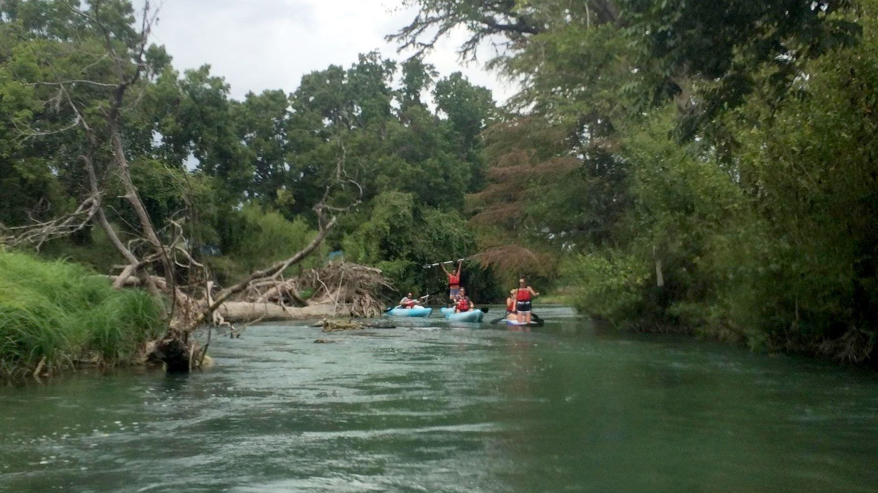 Group on a river in Austin