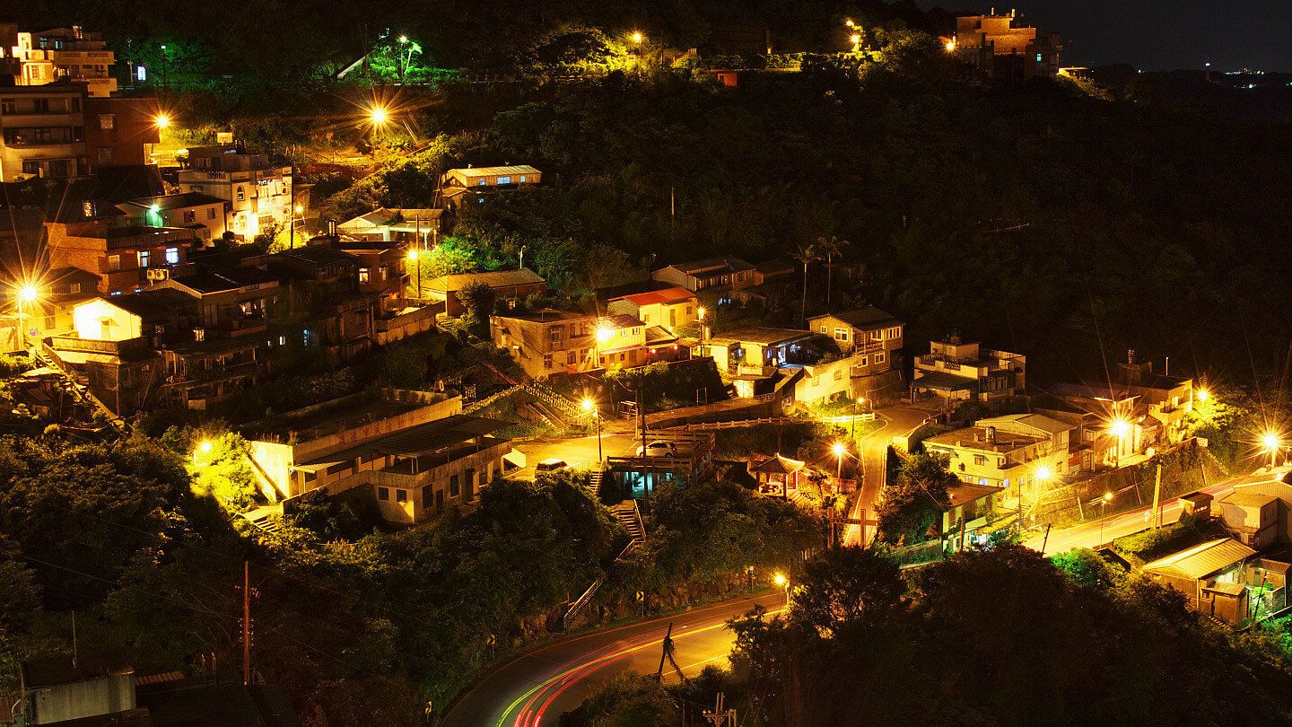 View of the city of Jiufen at night