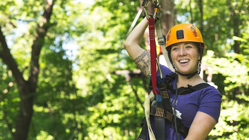 Woman about to zipline in Minneapolis