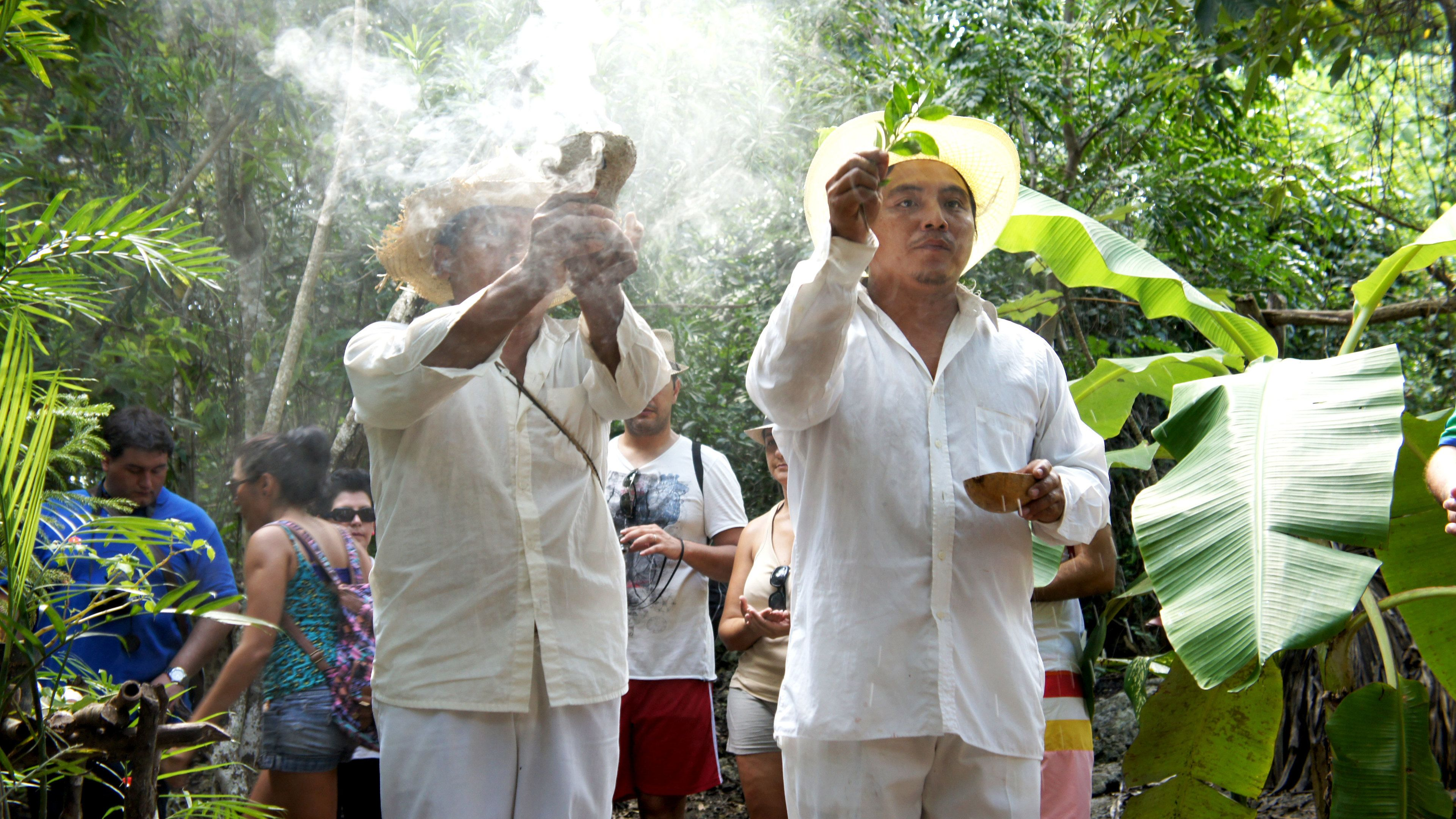 Mayan ceremony being performed by locals in Coba