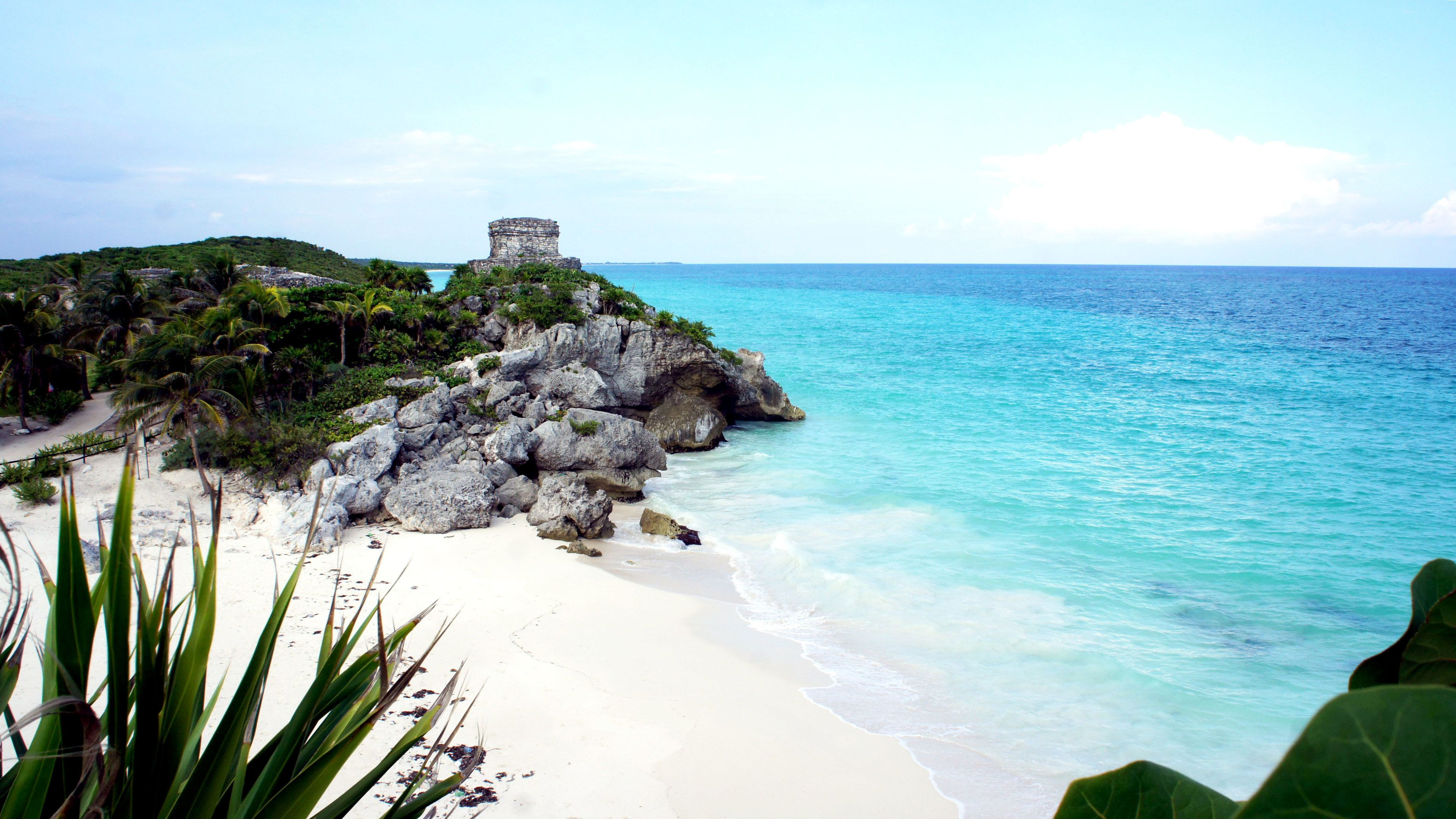 Building ruins near beach and coast in Tulum