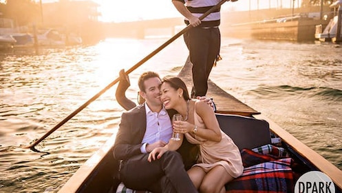 Sunset view of a couple on the 50-Minute Gondola Cruise in Orange County, CA