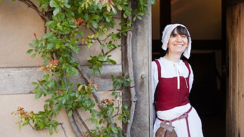 Woman in historical costume at Shakespeare's birthplace