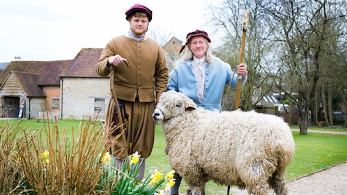Costumed performers with sheep at Shakespeare's birthplace