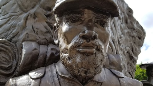 Close up of face of civil war statue in Washington D.C.