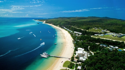 Ariel view of beach and bay in Tangalooma