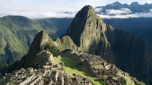 Landscape view of Huayna Picchu Mountain in Peru