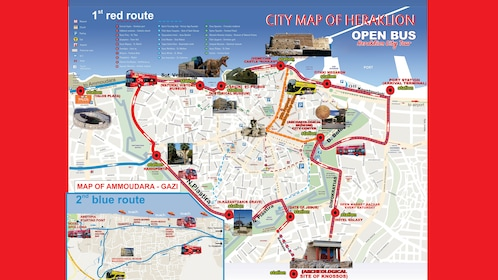 Hop on Hop Off bus on Crete Island route map