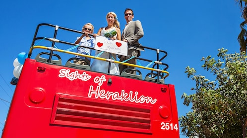 Couple getting married on a Hop on Hop Off bus on Crete Island