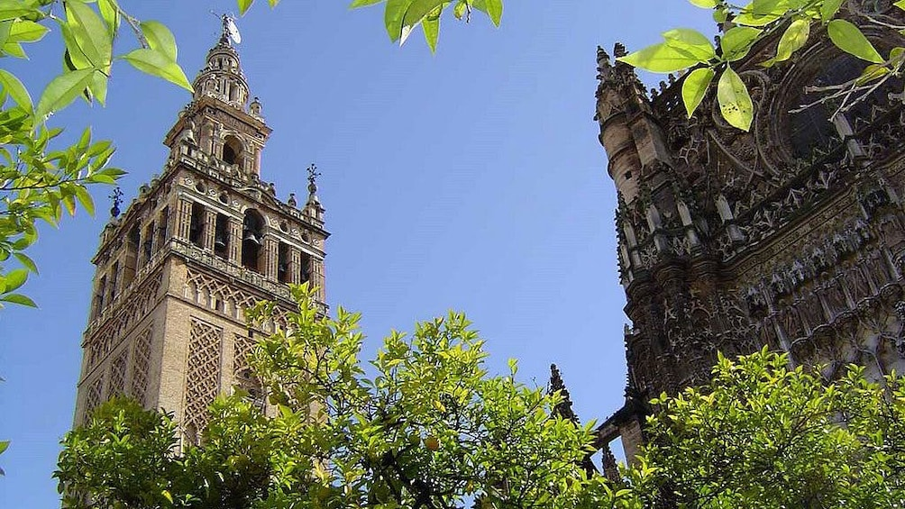 Show item 2 of 5. View up at the bell tower of Giralda in Seville