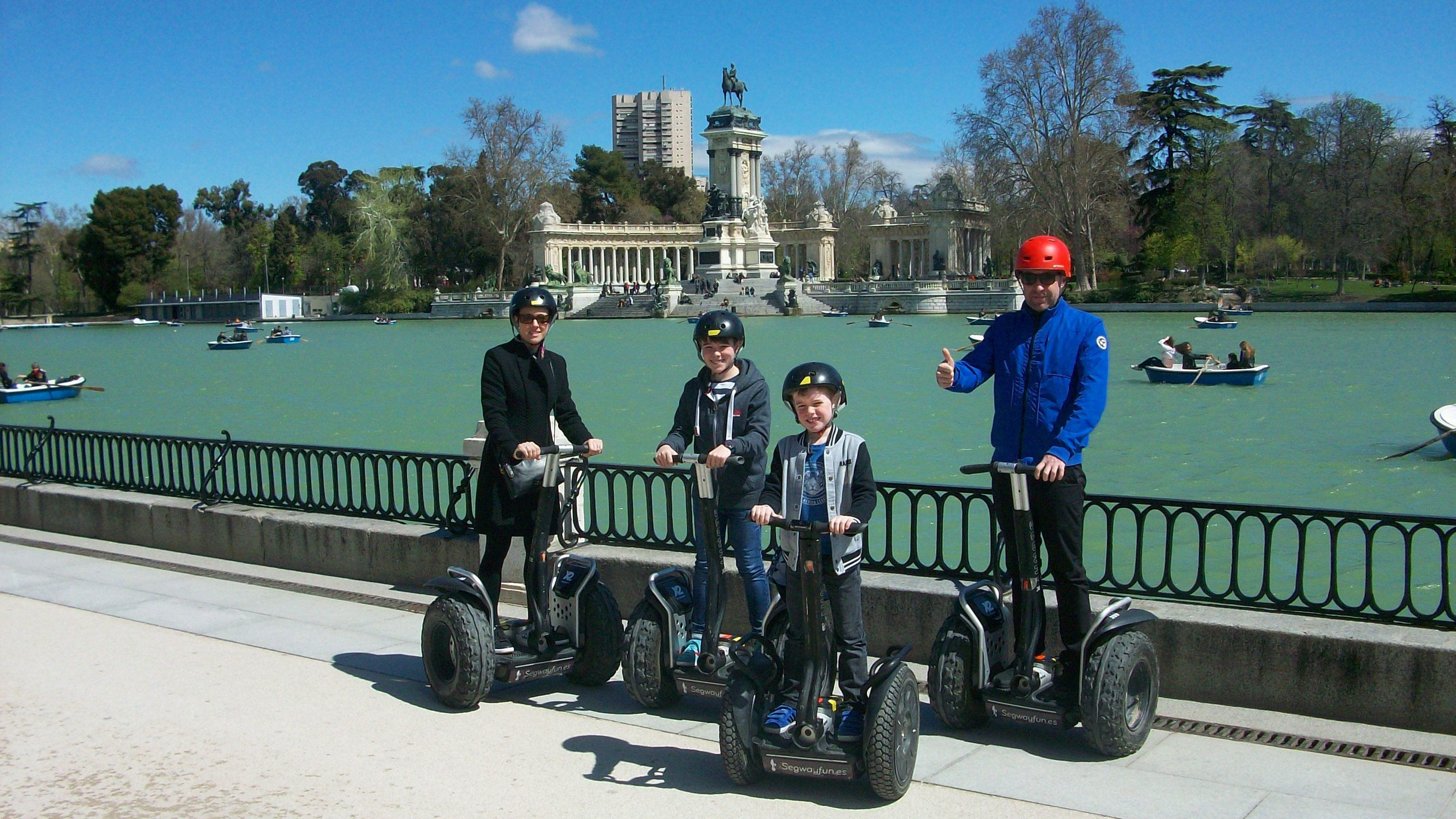 Family on segways in Madrid