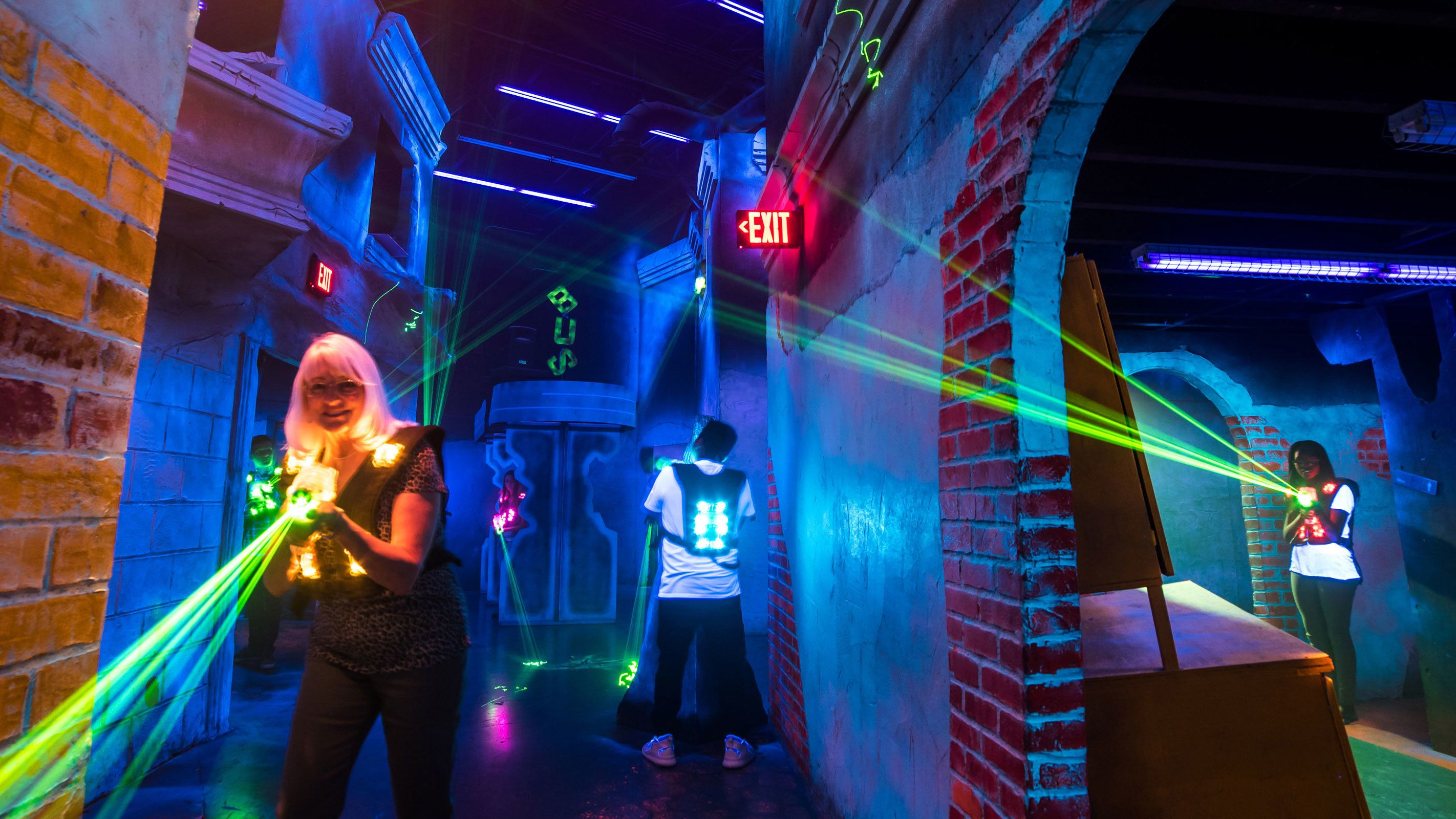 People shooting lasers at battleBLAST Laser Tag in Las Vegas