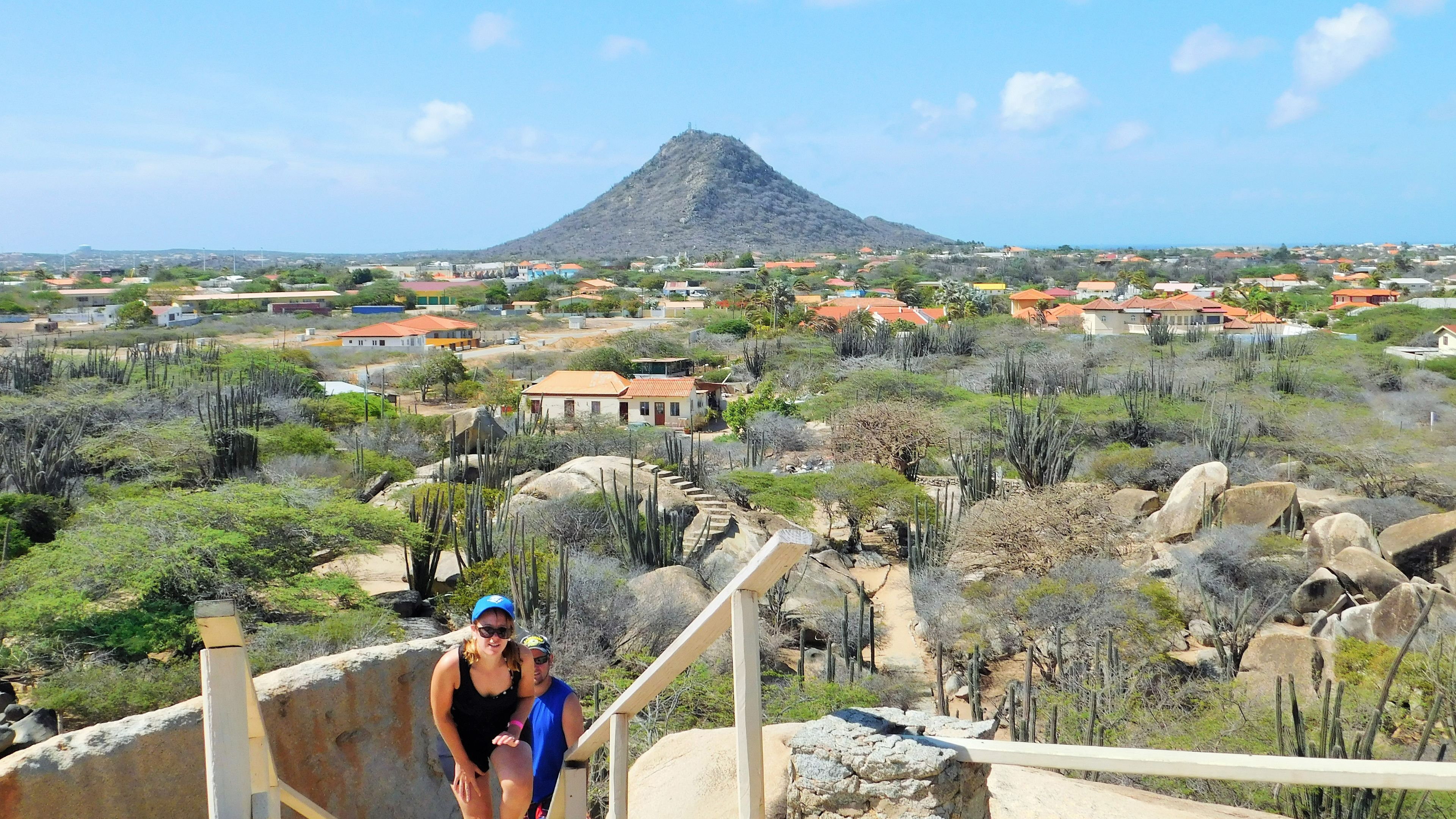 People walking up pathway to view in Aruba
