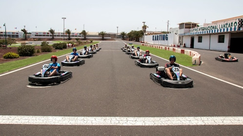 Group waiting for green light on the go kart track in Lanzarote