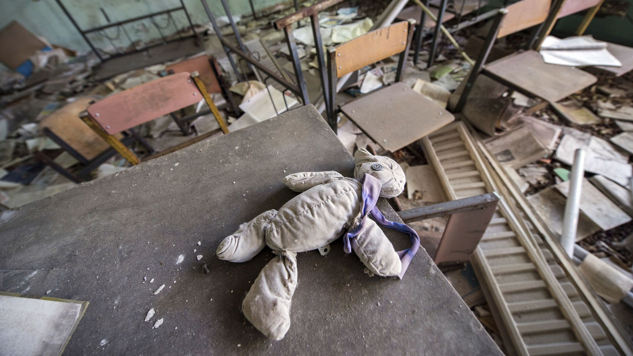 Child's doll in an abandoned building in Chernobyl