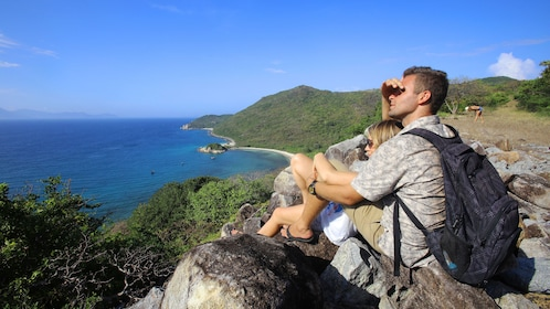Couple at a scenic lookout in the hills of Nha Trang