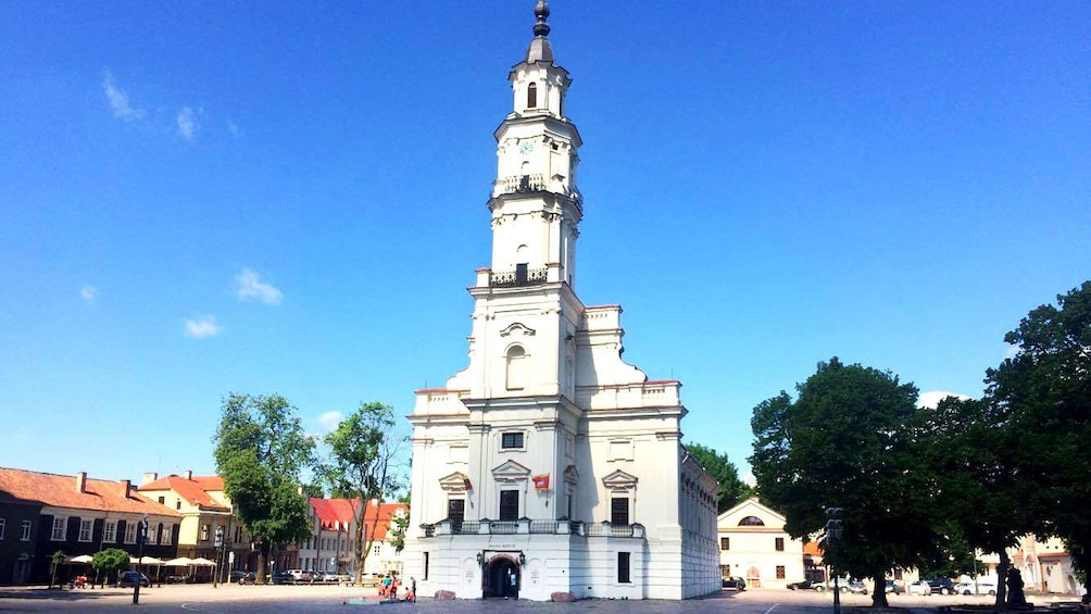 Show item 6 of 6. Sun shining on the town hall of Kaunas City