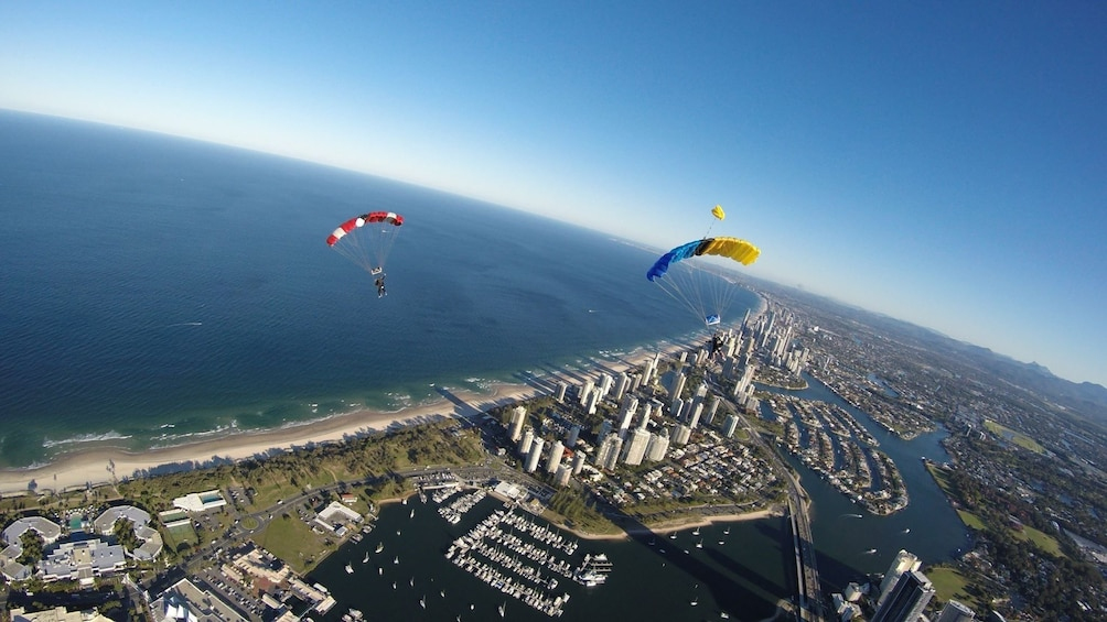 Show item 4 of 7. Skydivers soaring over Gold Coast by parachute