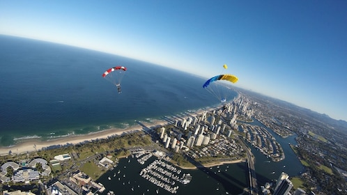 Skydivers soaring over Gold Coast by parachute