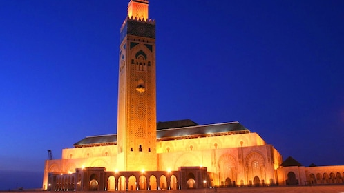 Hassan II Mosque in Casablanca at night