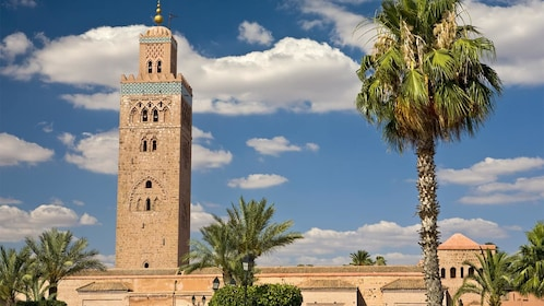 Landscape view of Koutoubia Mosque in Marrakesh, Morocco