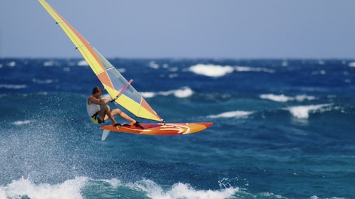 Windsurfer jumping from wave in Agadir