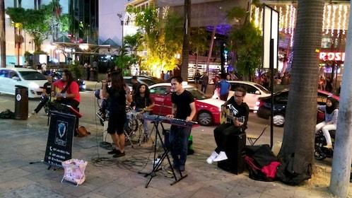 Street band at night in Kuala Lumpur