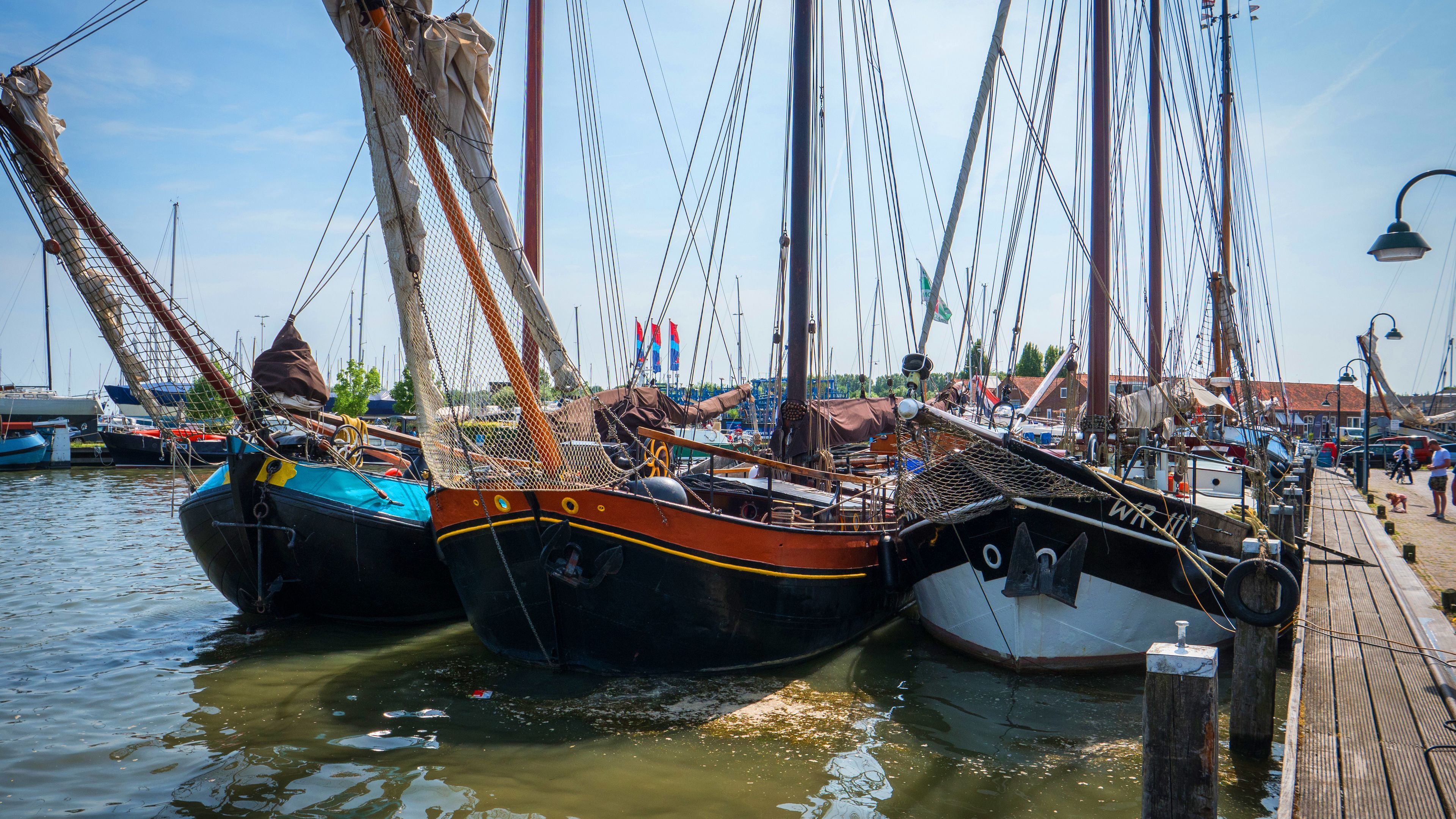 Boats moored in the Netherlands