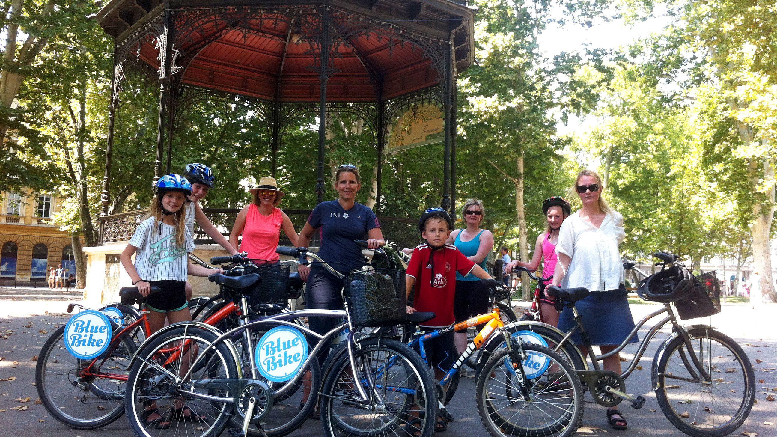 Bike group in front of gazebo in park in Zagreb