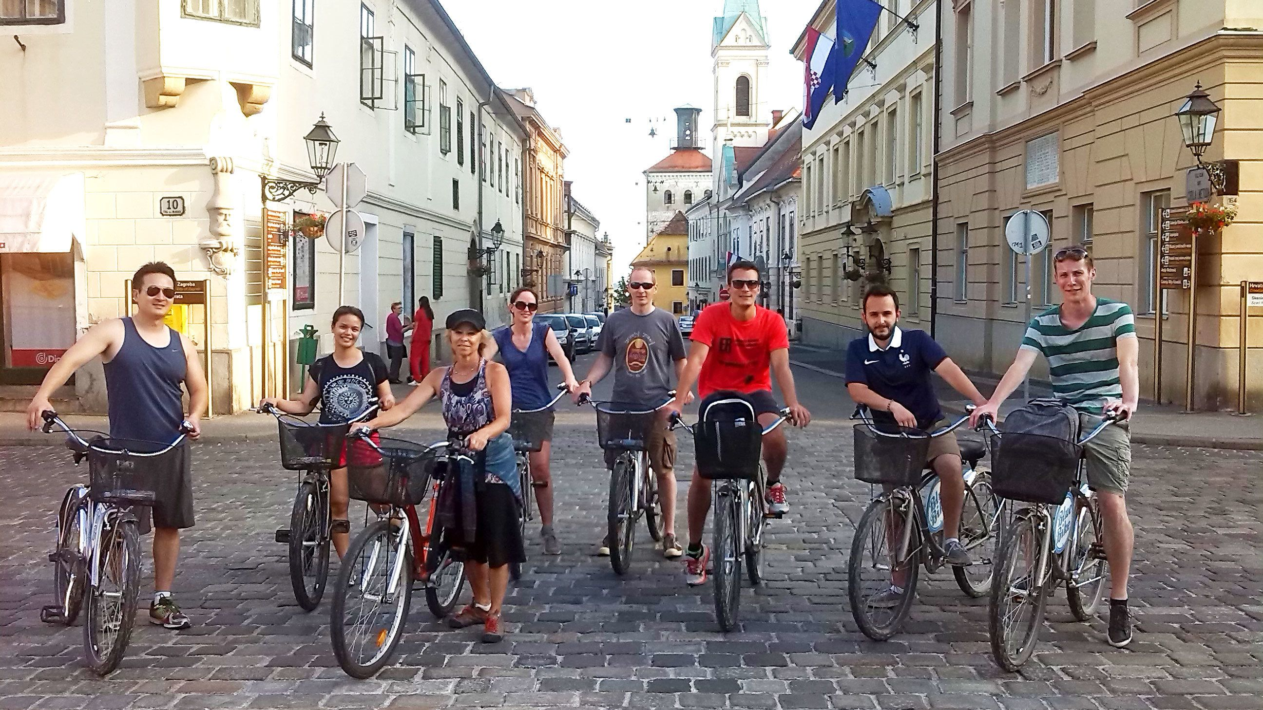 Bike tour group at intersection in Zagreb
