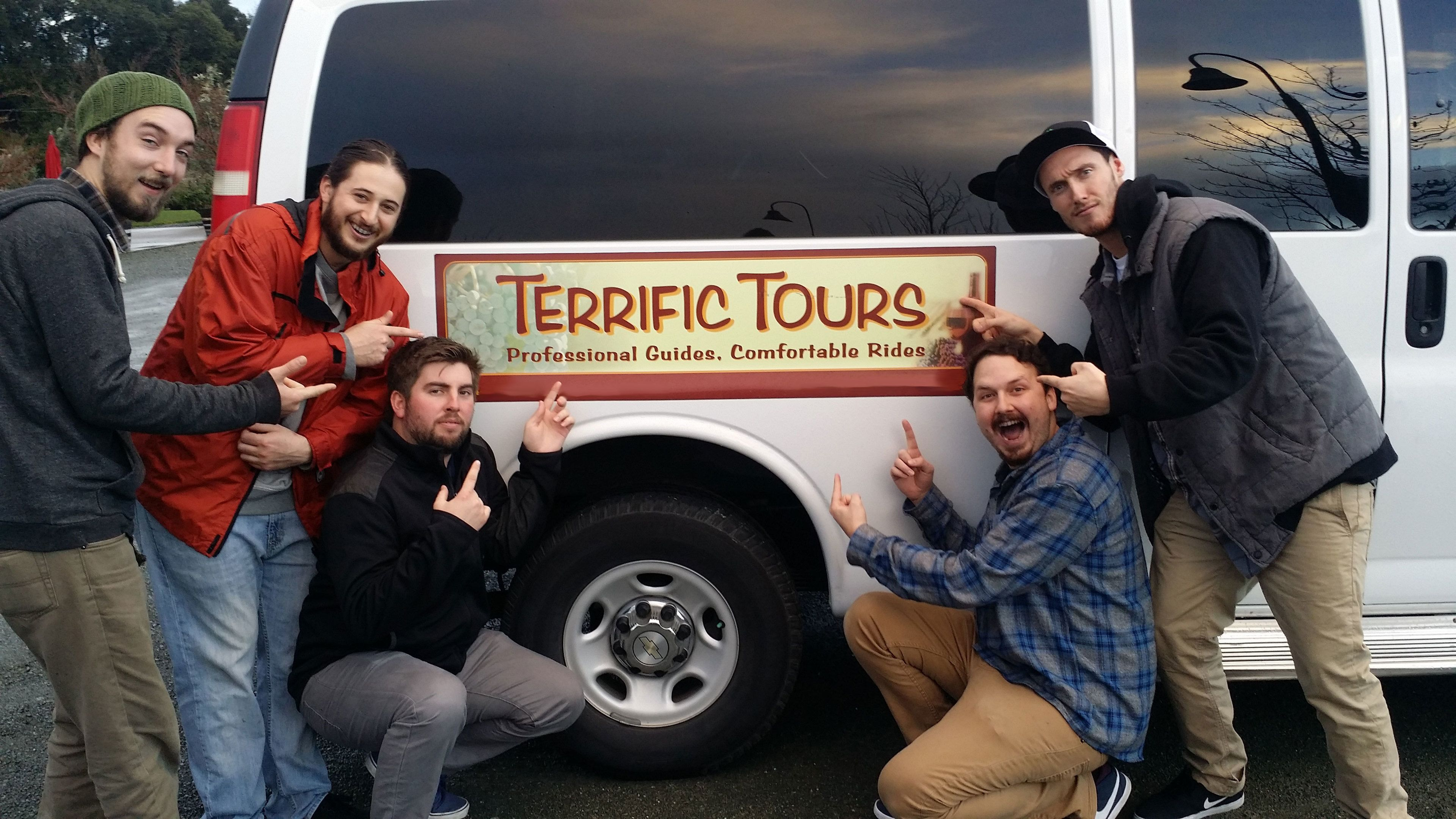 Group with tour van in Sonoma