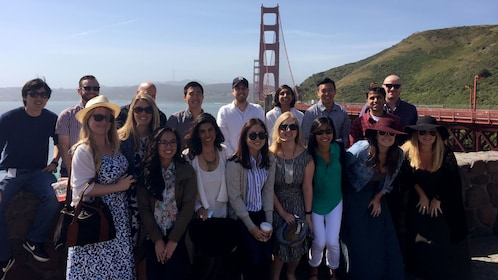 Tour group with Golden Gate Bridge in the background