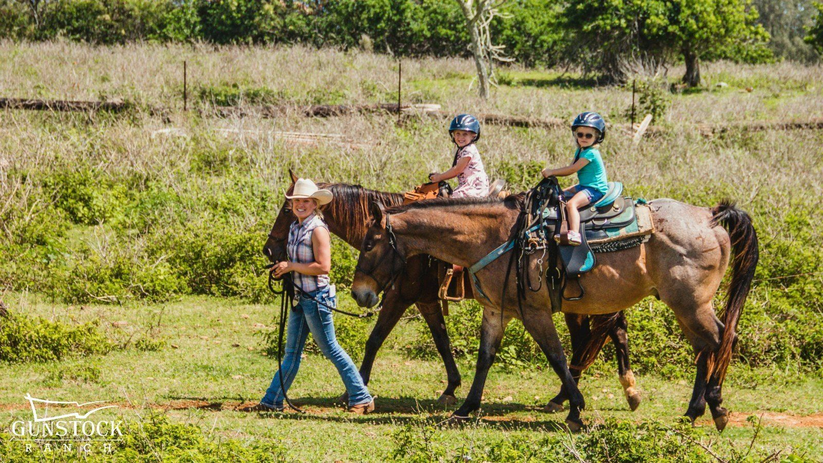 Group on the Pony Ride for Kids activity in Kahuku