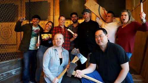Group takes picture at Forged Axe Throwing in Whistler
