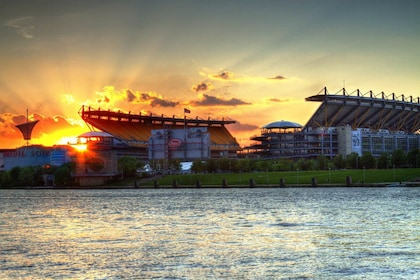 View of stadium from the river at sunset in Pittsburgh