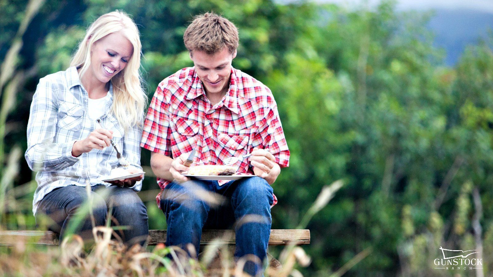 Couple eating food at a ranch in Hawaii